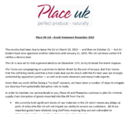 Place UK Ltd – Brexit Statement November 2019